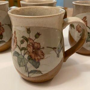 Otagiri Hummingbird Hibiscus Japan Stoneware Mugs